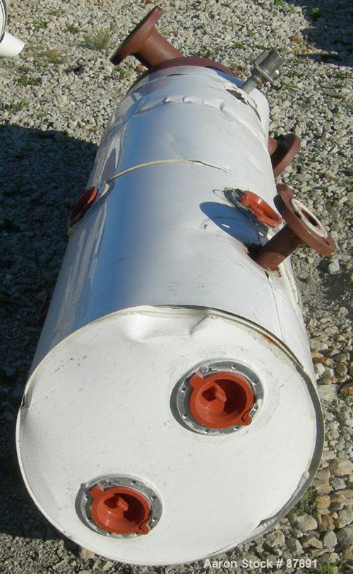 Used- Doyle and Roth 4 Pass U Tube Heat Exchanger, approximately 44 square feet, horizontal. Carbon steel shell rated 100 ps...