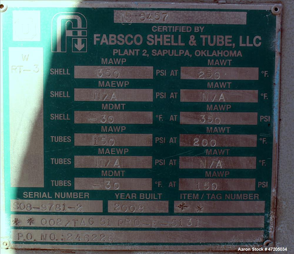 Unused- Fabsco 2 Pass Shell & Tube Heat Exchanger, Approximately 4,092 Square Feet, Horizontal. Carbon steel shell rated 350...