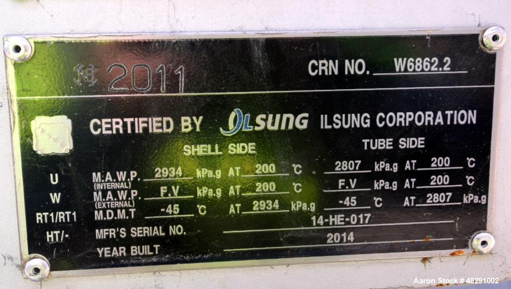 Unused- Ilsung Corporation U Tube Shell & Tube Heat Exchanger, Approximate 353 Square Feet, Tema Type AEU, Carbon Steel, Hor...