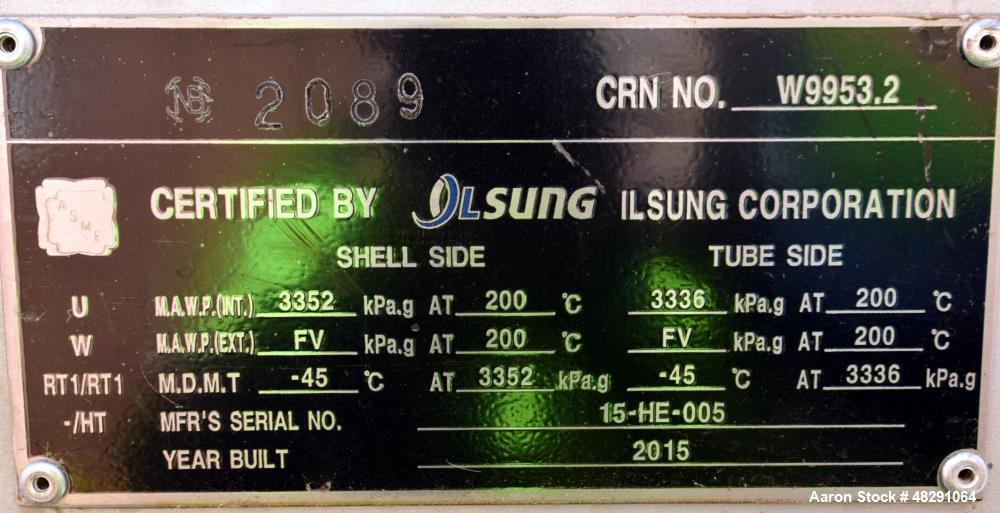 Unused- Ilsung Corporation U Tube Shell & Tube Heat Exchanger, Approximate 700 Square Feet, Carbon Steel, Horizontal. Shell ...