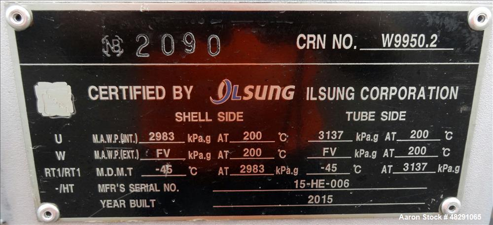 Unused- Ilsung Corporation U Tube Shell & Tube Heat Exchanger, Approximate 2356