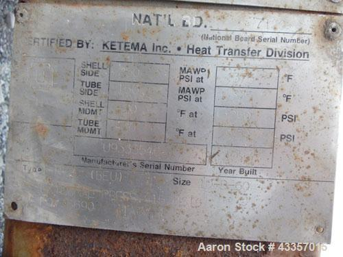Used- Ketema U Tube Shell & Tube Heat Exchanger, 76.6 Square Feet. Carbon steel tubes, tube sheet, bonnet and shell. (70) .7...