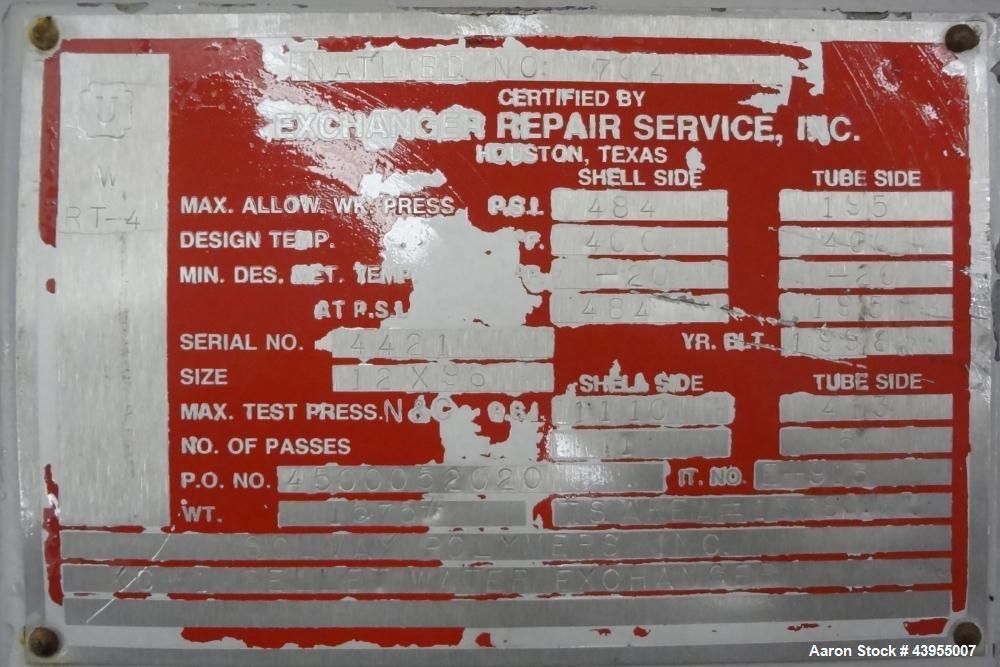 Used- Exchanger Repair Service Multiple Pass Shell And Tube Heat Exchanger, 144 Square Feet, Horizontal. Carbon steel shell ...