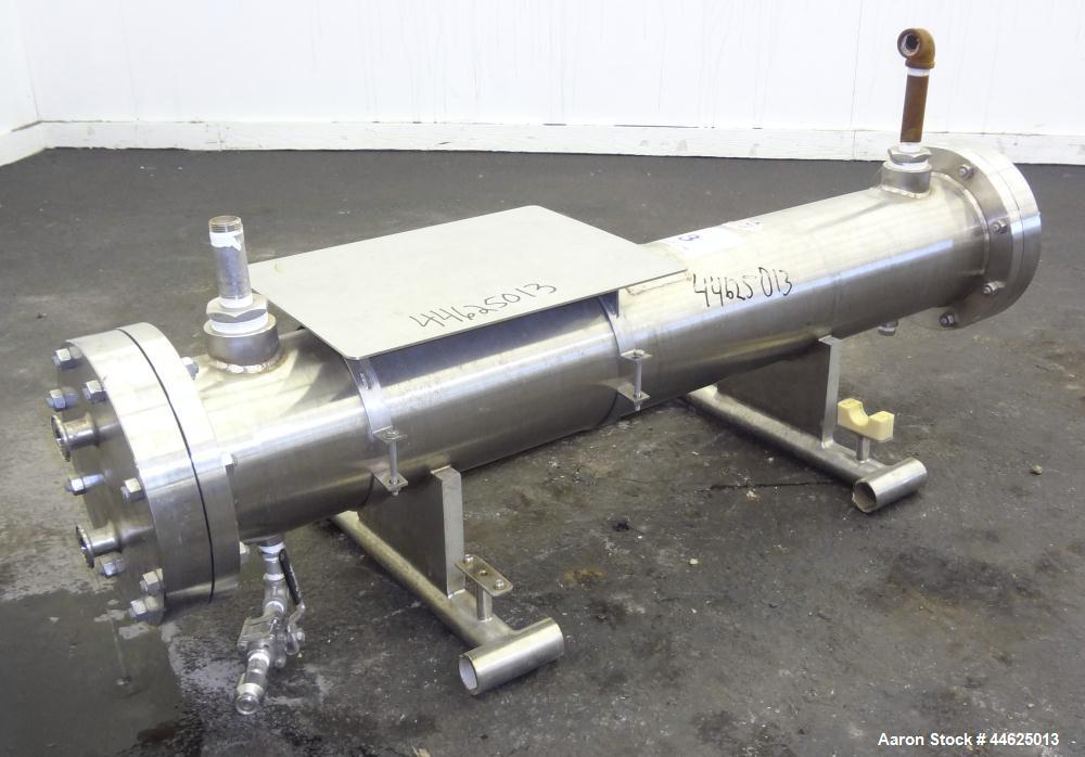 Used- Enerquip 8 Pass Shell and Tube Heat Exchanger, approximately 85 square feet, stainless steel, horizontal.  304L Stainl...