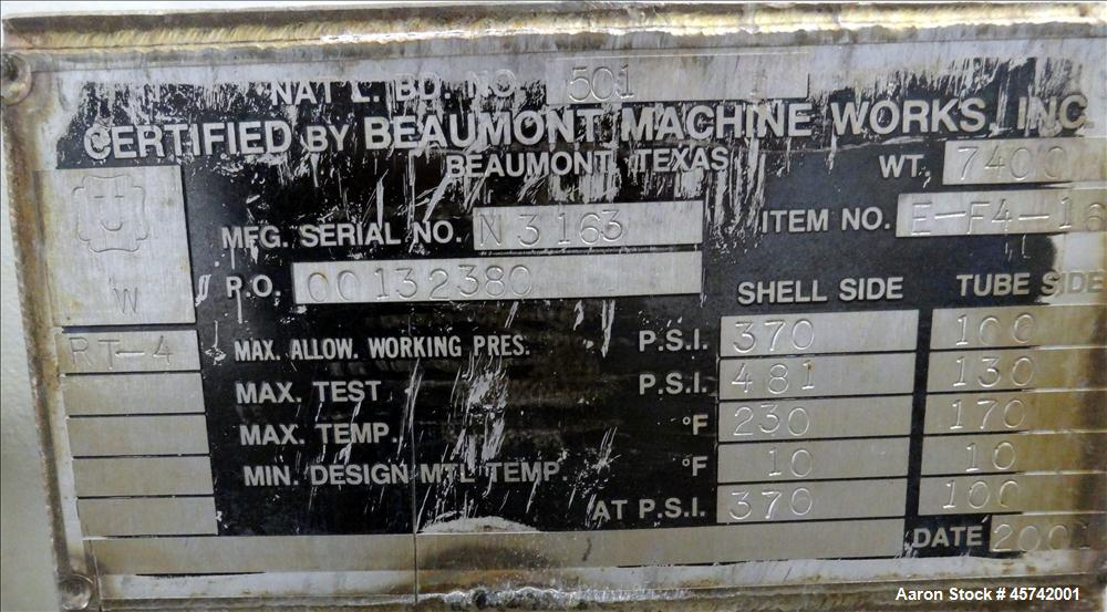 Used- Beaumont Machine Works Inc. Shell and Tube Heat Exchanger