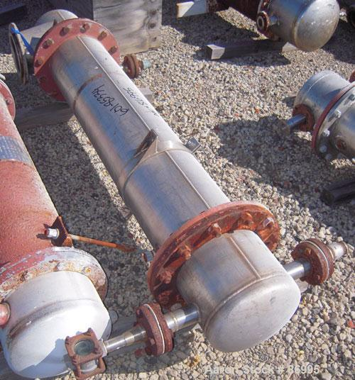 "Used- Shell And Tube Heat Exchanger, approximately 88 square feet. Stainless steel shell rated 60 psi, (90) 3/4"" diameter st..."