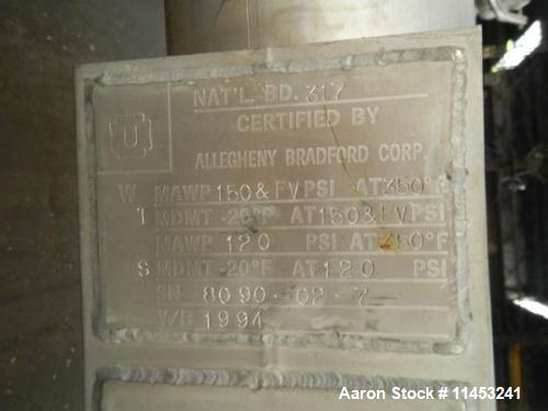 Used- Stainless Steel Allegheny Bradford Shell & Tube Heat Exchanger