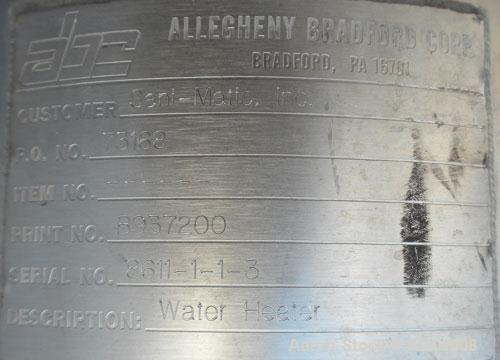Used- Allegheny Bradford U Tube Heat Exchanger, Approximately 6 Square Feet, Vertical. 304L Stainless steel shell rated 150 ...