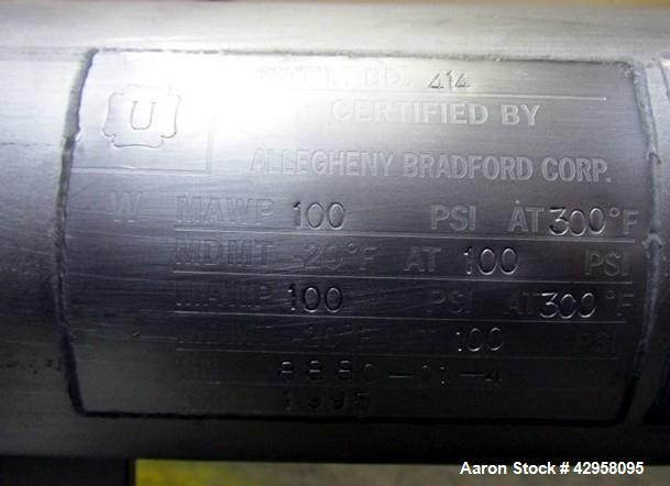 Used- Allegheny Bradford U Tube Shell & Tube Heat Exchanger, 7.5 Square Feet. 316 Stainless steel tubes, tube sheet and bonn...