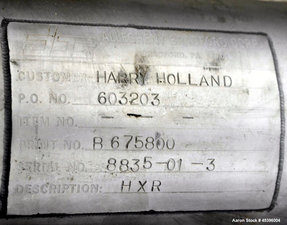 Used- Allegheny Bradford 4 Pass U Tube Heat Exchanger