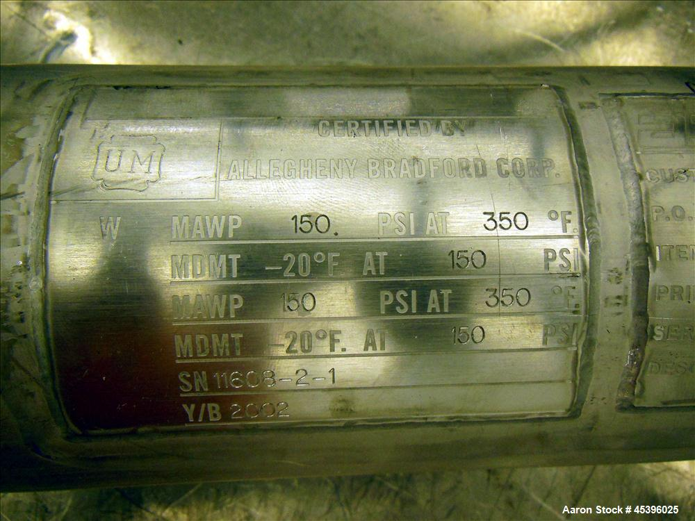 Used- Allegheny Bradford 4 Pass U Tube Heat Exchanger