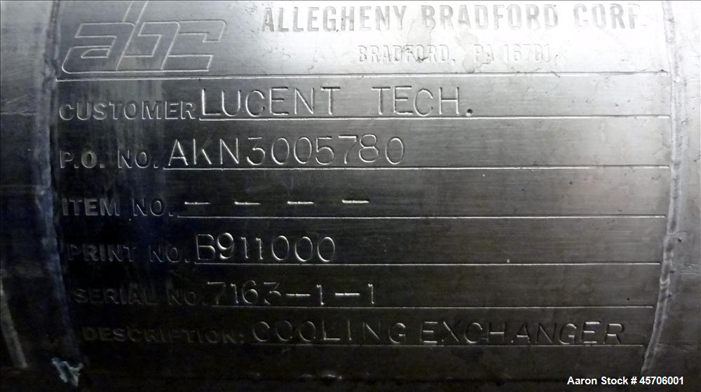 Used- Allegheny Bradford Shell & Tube Heat Exchanger, Appropximate 52 Square Feet. 316 Stainless steel shell rated 150 psi a...