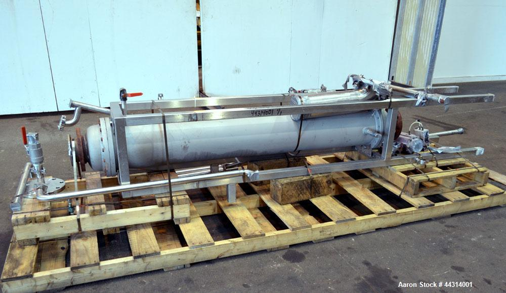 Used- Ametek Single Pass Shell & Tube Heat Exchanger, 123 Square Feet, Horizontal. Size 10-A-72, Type AHT-1-A-SS. 316 Stainl...