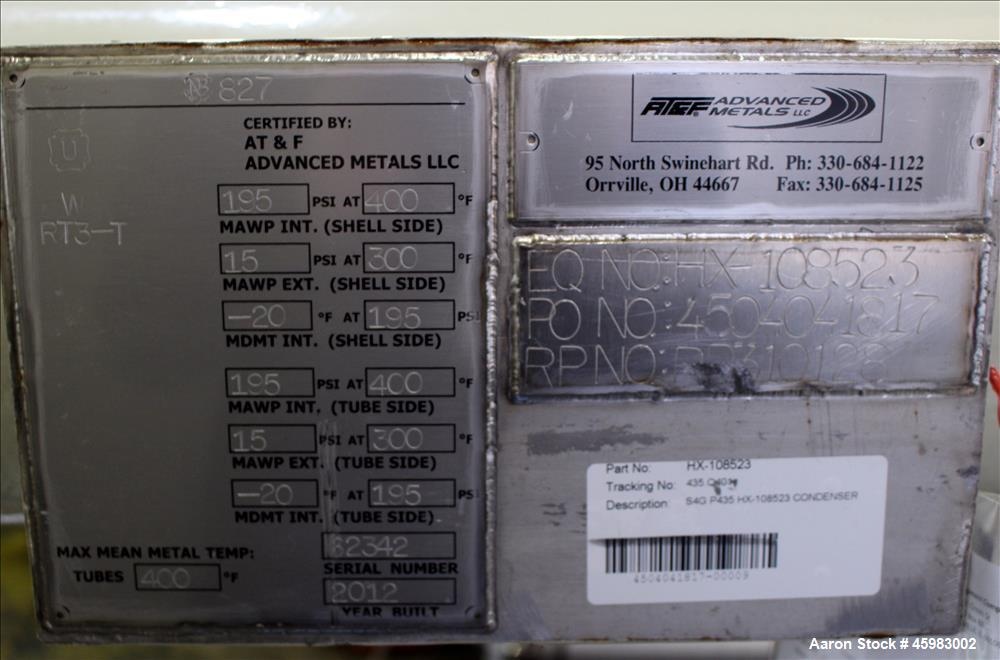 Unused- AT&F Advanced Metals Single Pass Shell and Tube Heat Exchanger