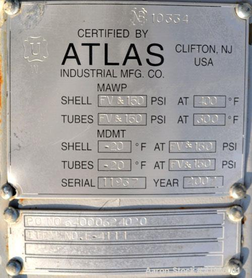 Unused- Atlas Industrial 2 Pass Shell & Tube Heat Exchanger, 11,081 Square Feet, Type AEM 60-360