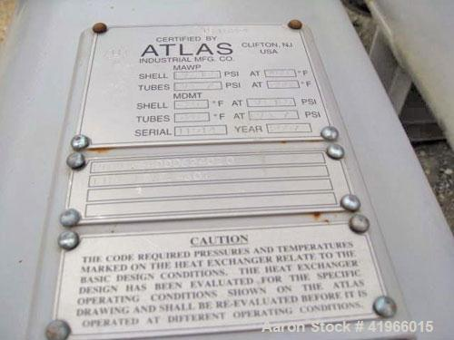 Unused- Atlas Industrial Single Pass Shell and Tube Heat Exchanger, 843 square feet, horizontal, type BEM 24-144. Carbon ste...