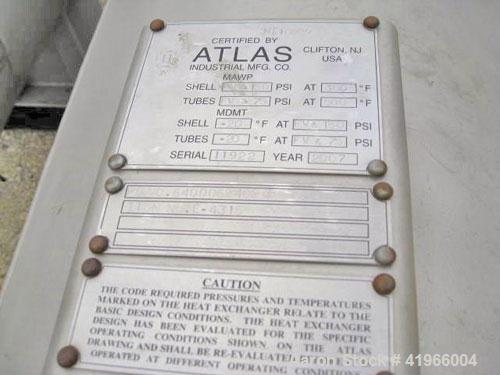 Unused- Atlas Industrial Single Pass Shell and Tube Heat Exchanger, 1501 square feet, horizontal, type BEM 24-192. 304 Stain...