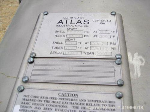Unused- Atlas Industrial 4 Pass Shell and Tube Heat Exchanger, 3487 square feet, vertical, type BEM 36-192. 304 Stainless st...