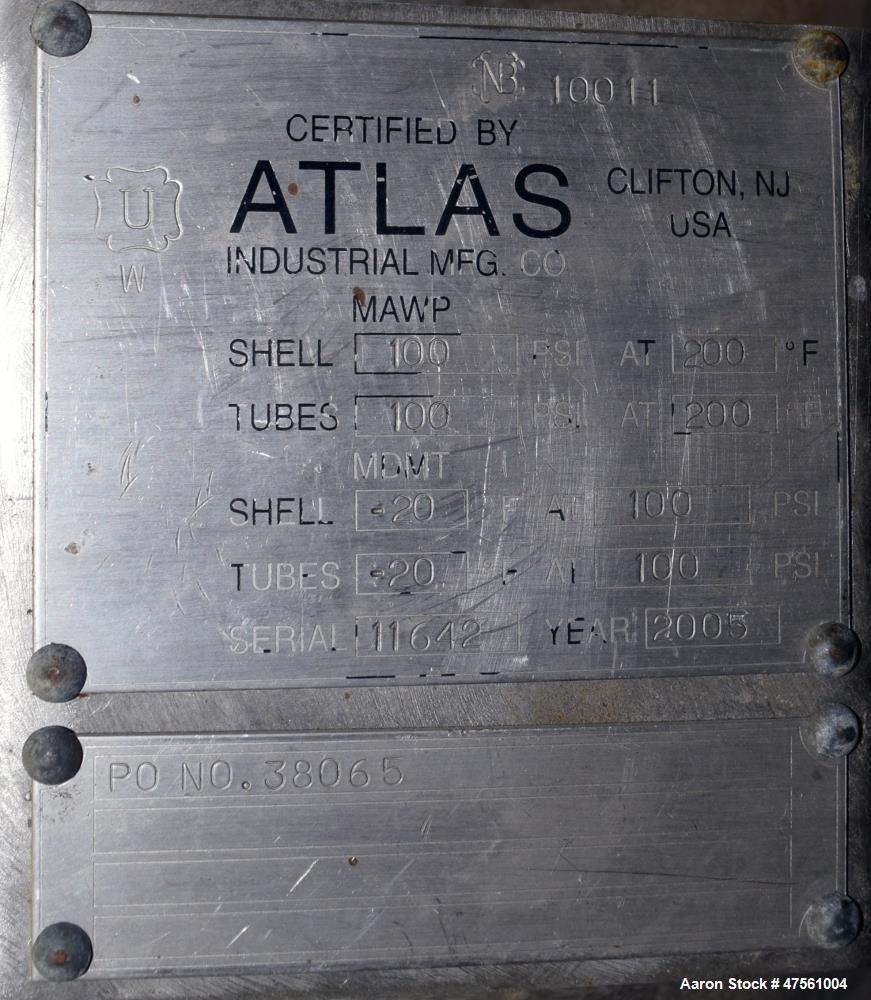 Used- Atlas Industrial U Tube Shell and Tube Heat Exchanger