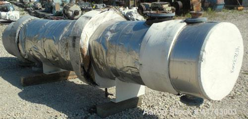 Used- Atlas Industrial Shell and Tube Heat Exchanger, 686 square feet, horizontal. Tema type BEM 21-120. Carbon steel shell ...