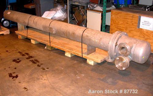 USED: LJE Brunner U-tube heat exchanger, 41 square feet, 304 stainless steel, horizontal. 304 stainless steel shell rated 12...