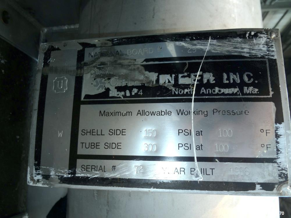 Used- Chemineer Shell & Tube Heat Exchanger Static Mixer, Approximate 50 Square Feet, Vertical. 304 Stainless steel shell ra...