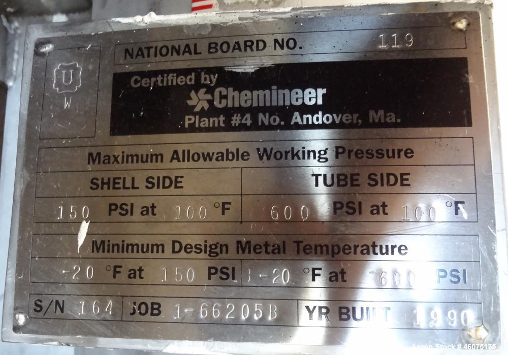 Used- Chemineer Shell & Tube Heat Exchanger Static Mixer, Approximate 50 Square Feet, Horizontal. 304 Stainless steel shell ...