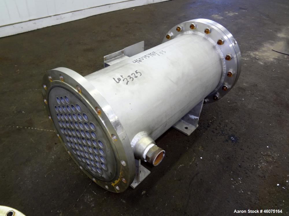 Used- Chemineer Shell & Tube Heat Exchanger, 35 Square Feet, Horizontal. 304 Stainless steel shell rated 150 psi at -20 to 1...