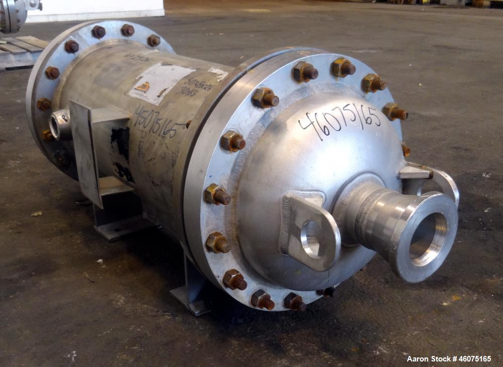 Used- Chemineer Shell & Tube Heat Exchanger Static Mixer, Approximate 50 Square Feet, Horizontal. Stainless steel shell rate...