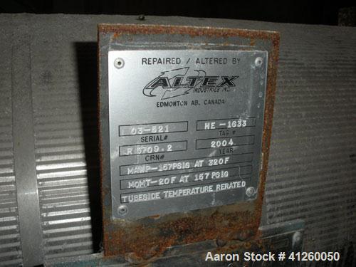 Used-Altex Heat Exchanger. Shell design pressure 150 psi @ 320 deg F, tube design pressure 157 psi @ 86 deg F. Approximate 1...