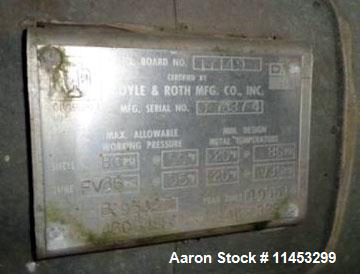 Used- Doyle and Roth Shell and Tube Heat Exchanger, 986 sq. ft. 304 stainless steel shell, tubes, tube sheets and bonnets. R...