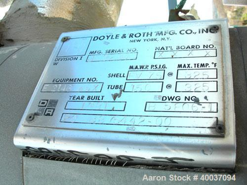 Used: Doyle and Roth Shell and Tube Heat Exchanger/Condenser