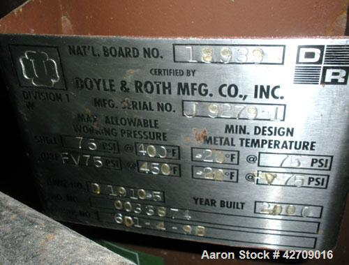 Used- Doyle & Roth Shell And Tube Heat Exchanger, 342 Square Feet, Vertical. Carbon steel shell rated 75 psi at –20/400 deg....