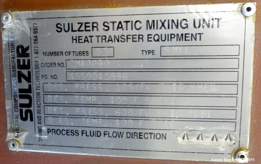 Used- Doyle and Roth Single Pass Shell & Tube Heat Exchanger, 48 Square Feet, Vertical. Carbon steel shell rated 125 psi/Ful...