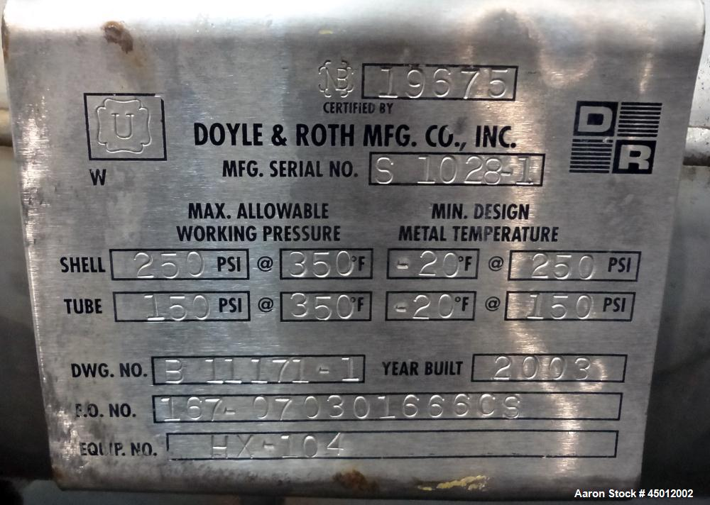 Used- Doyle & Roth Shell and Tube Heat Exchanger, 807 Square Feet, Horizontal. 304 Stainless steel shell rated 250 psi at -2...
