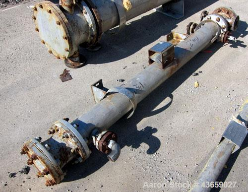 Used- Stainless Steel Horizontal Enerquip Shell & Tube Heat Exchanger, Approximately 30.9 Square Feet