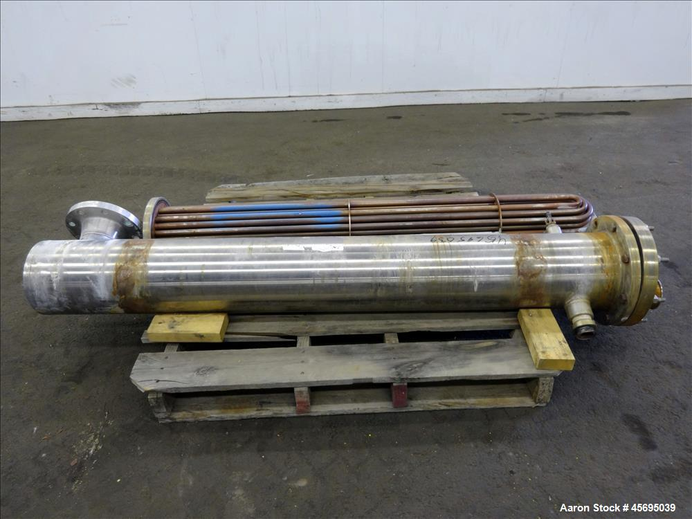 """Used- Enerquip U"""" Tube Heat Exchanger, Approximately 40 Square Feet, Horizontal. 304L Stainless steel shell rated 150 psi at..."""