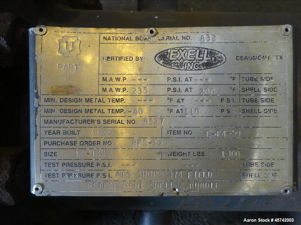 Used- Excell Multiple Pass Shell & Tube Heat Exchanger, Approximately 136 Square Feet, Size 10-144, Horizontal. 304 Stainles...