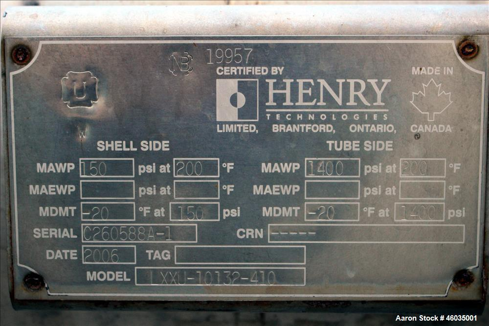 Used- Henry Technologies U Tube Shell & Tube Heat Exchanger