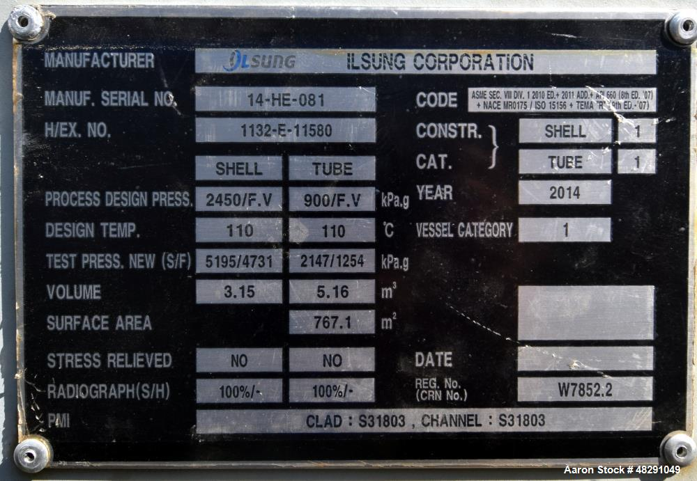 Unused- Ilsung Corporation Single Pass Shell & Tube Heat Exchanger, Approximate