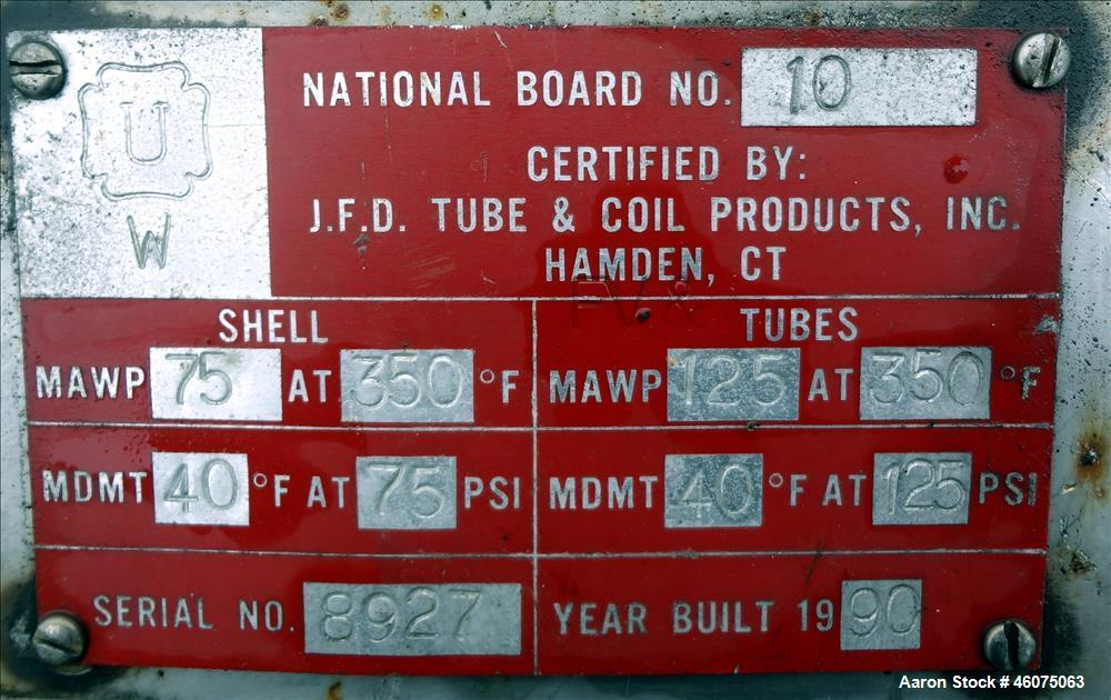 Used- J.F.D. Tube & Coil Products U Tube Shell & Tube Heat Exchanger, Approximate 597 Square Feet, Horizontal. 316L Stainles...