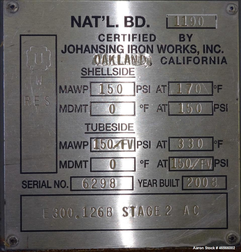 Used- Johansing Iron Works Shell & Tube Heat Exchanger, Approximate 37 Square Feet, Vertical. Carbon steel shell rated 150 p...