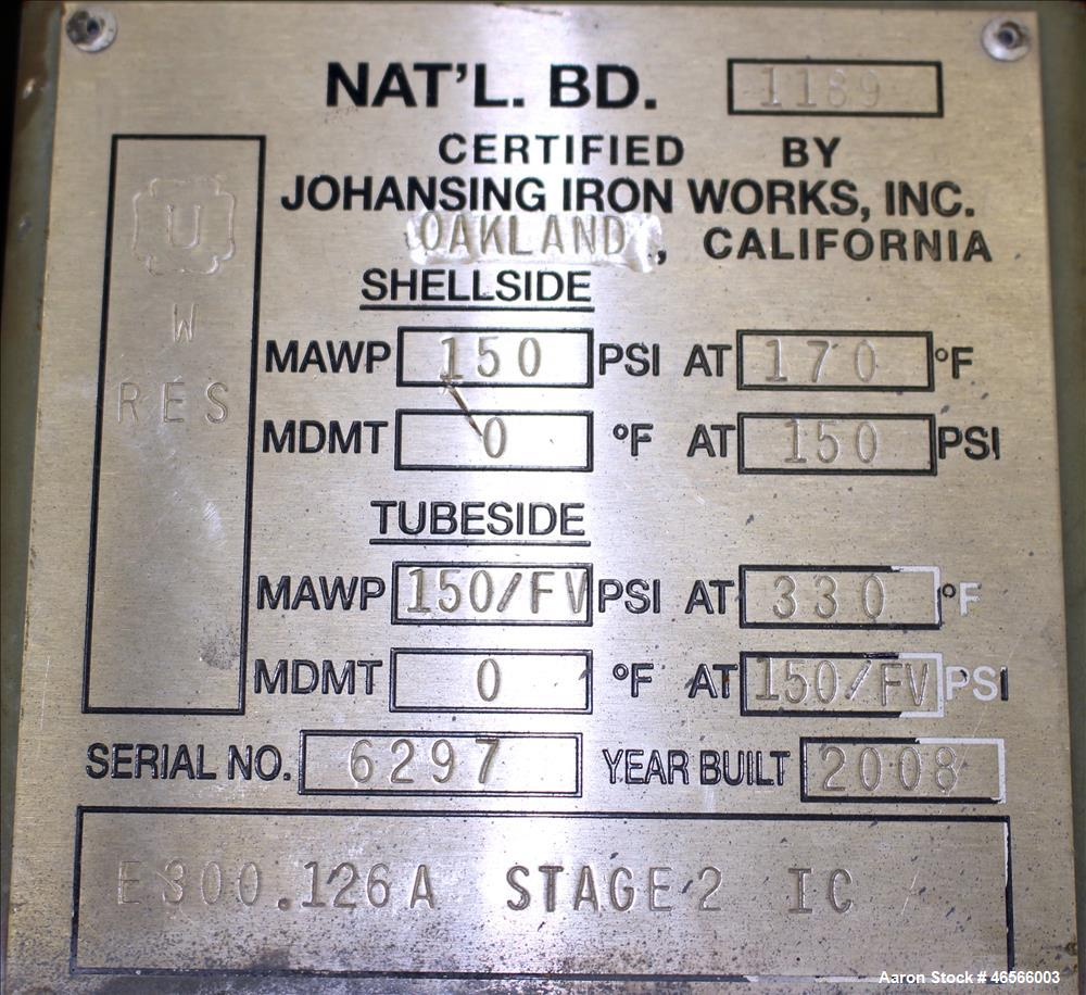Used- Johansing Iron Works Shell & Tube Heat Exchanger, Approximately 78 Square Feet, Vertical. Carbon steel shell rated 150...