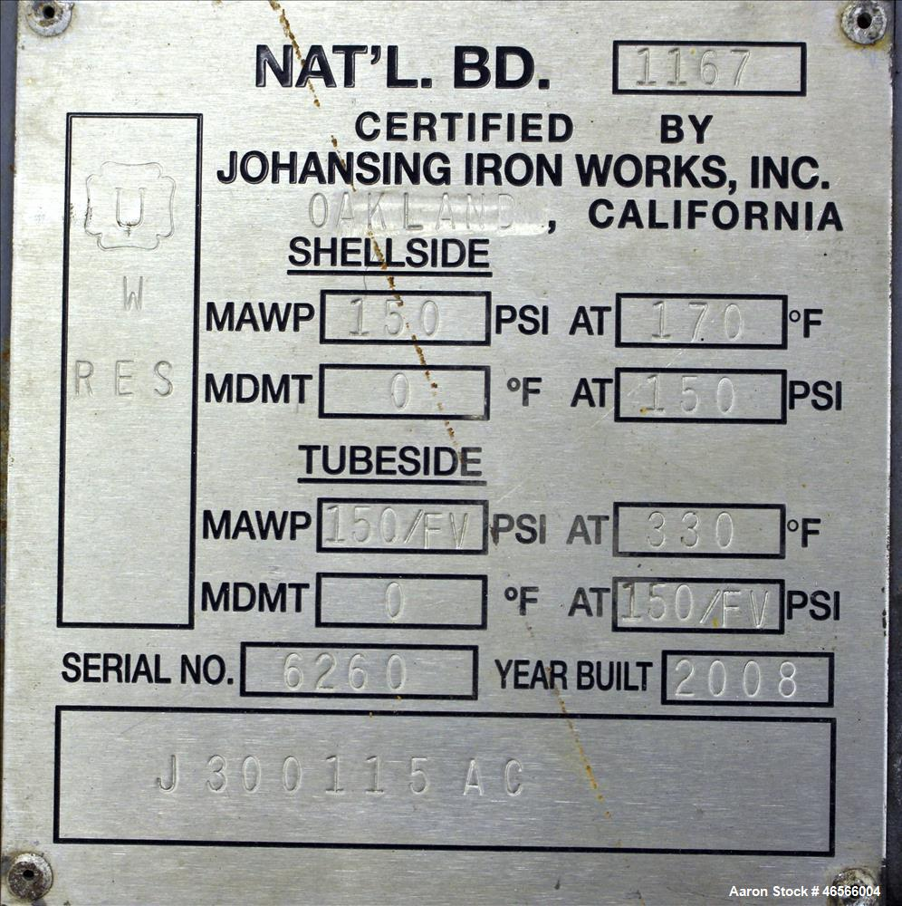 Used- Johansing Iron Works Shell & Tube Heat Exchanger, Approximately 37 Square Feet, Vertical. Carbon steel shell rated 150...