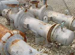 USED:Johnson-Hunt Ltd 2 pass shell and tube heat exchanger, 110 sq ft.Stainless steel tubes, carbon steel shell and heads. (...