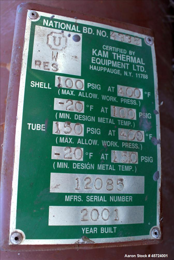 Used- KAM Thermal Single Pass Shell & Tube Heat Exchange, 479 Square Feet, Horizontal. Carbon steel shell rated 100psi at -2...