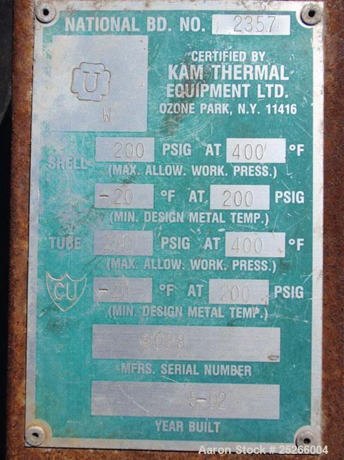 "Used- Kam Thermal 4 Pass U Tube Heat Exchanger, 194 Square Feet. 304 stainless steel tubes and tube sheets with (104) 3/4"" d..."