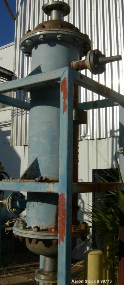 "USED: KAM Thermal Equip shell and tube heat exchanger. Vertical, 12"" shell x 46"" long. 3"" opening on heads, 2"" on shell. Car..."