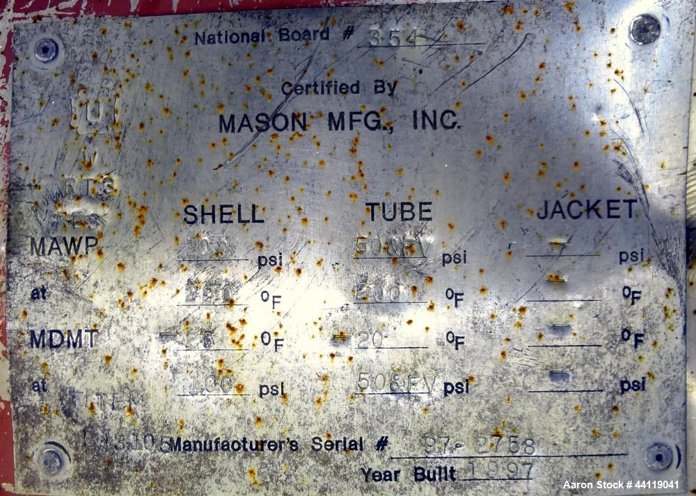 Used- Mason Single Pass Shell & Tube Heat Exchanger, 448 Square Feet, Vertical. Carbon steel shell rated 100psi at -20 to 20...