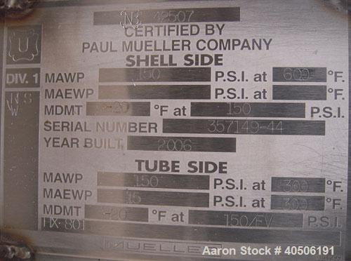 Unused- Mueller Single Pass Shell and Tube Heat Exchanger, 119 square feet, vertical. Tema Type BEM, Tema Size 10-96, Tema C...